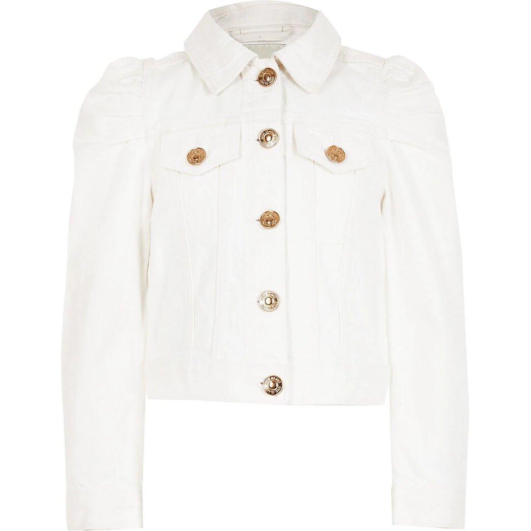 River Island White Puff Sleeve Denim Jacket.