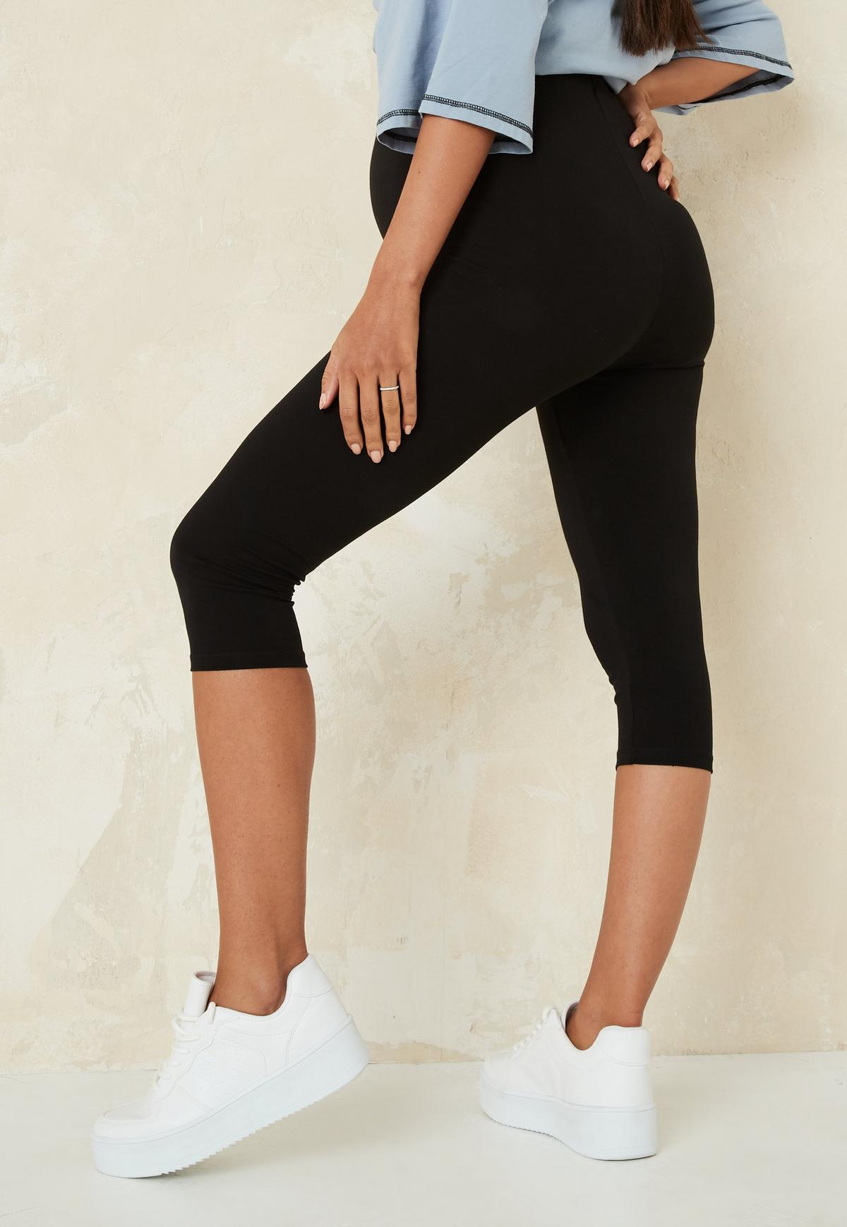 Missguided Black Maternity Cropped Leggings.
