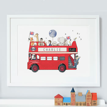 Personalised Children's London Bus Picture Print.