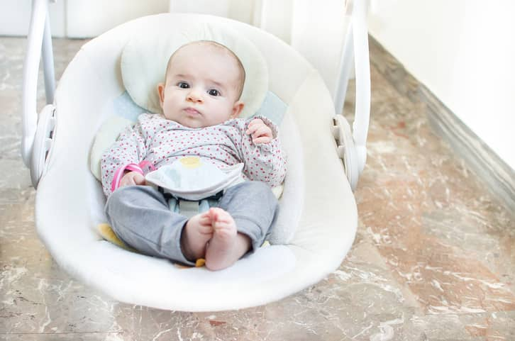 Baby relaxing in soothing bouncer.