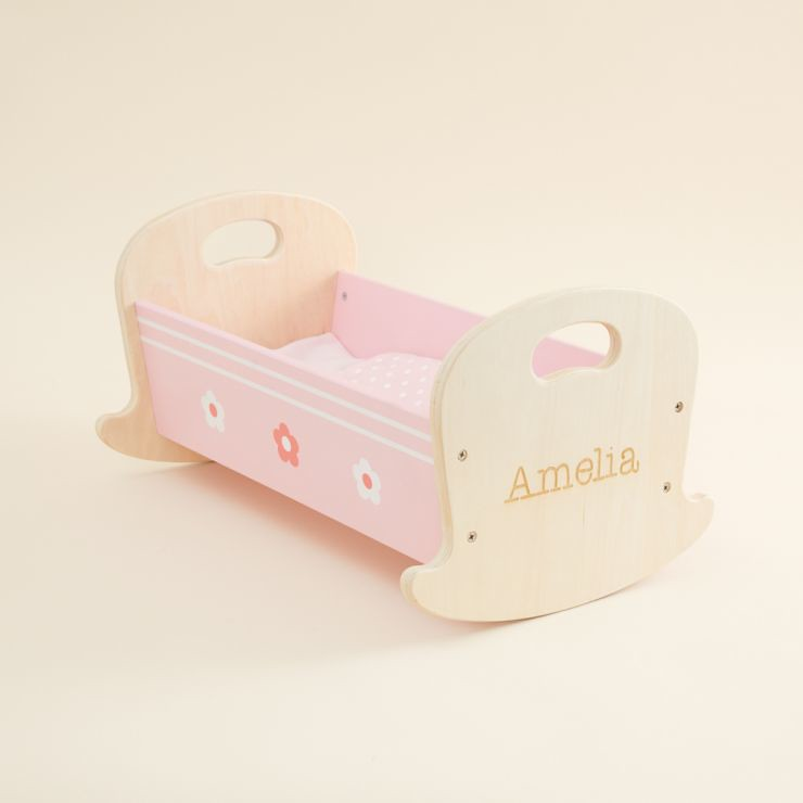 Personalised Doll's Cradle Wooden Toy - My 1st Years