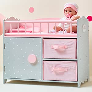Olivia's Little World Polka Dots Princess Baby Doll Crib with Cabinet And Cubby - Amazon