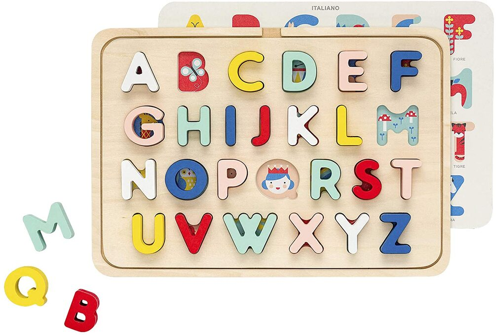 Petit Collage Multi-Language Alphabet Wooden Tray