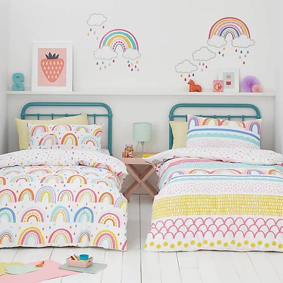 Elements Rainbow Geometric 100% Cotton Duvet Cover and Pillowcase Twin Pack Set - Dunelm