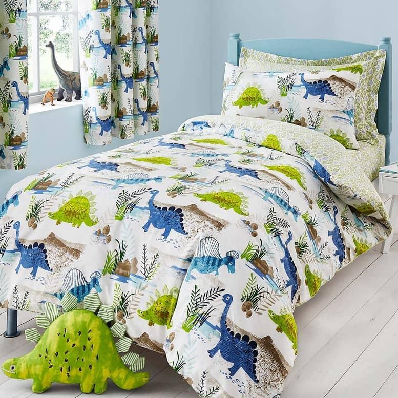 Roar! Dinosaur Reversible Green Duvet Cover and Pillowcase Set - Dunelm