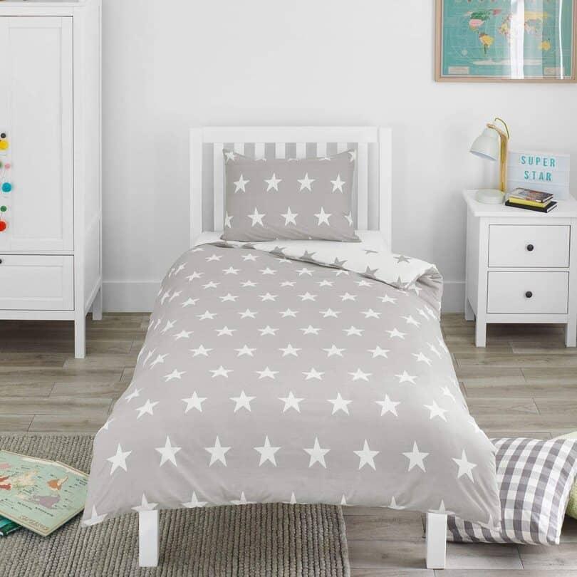 Grey & White Stars Kids Bedding Set - Bloomsbury Mill
