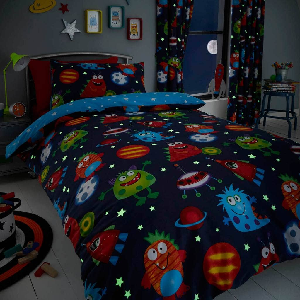 Outer Space Glow In The Dark Bedding - Happy Linen Company