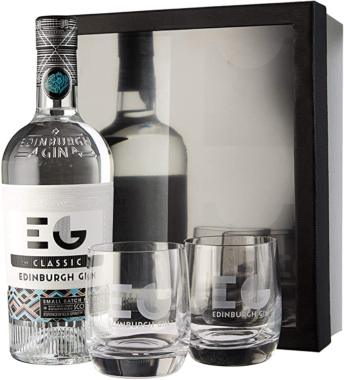 Classic Gin With Two Glasses Gift Set, Edinburgh Gin.