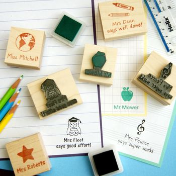 Teacher Personalised Rubber Stamp Gift, Skull And Cross Buns Rubber Stamps.