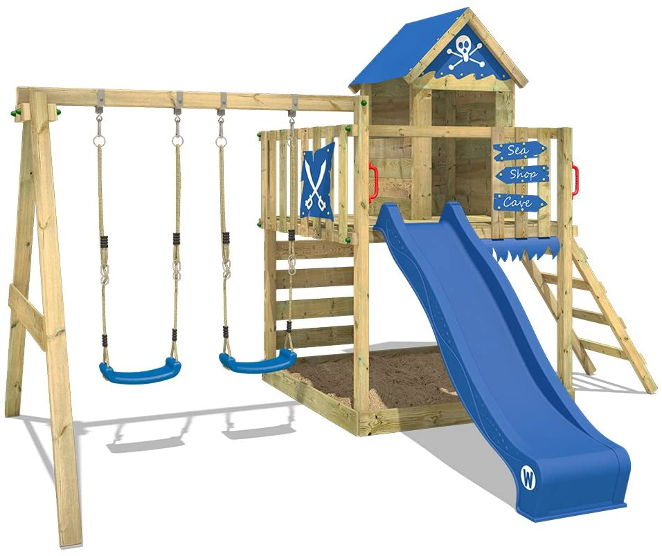 WICKEY Wooden Climbing Frame Smart Cave with Swing Set and Blue Slide
