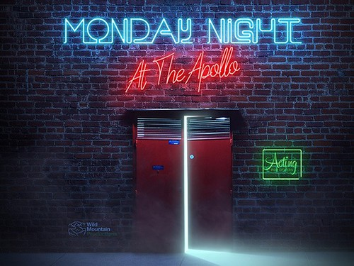Bright lights above an opened door in the promo poster for Monday Nights at the Apollo.