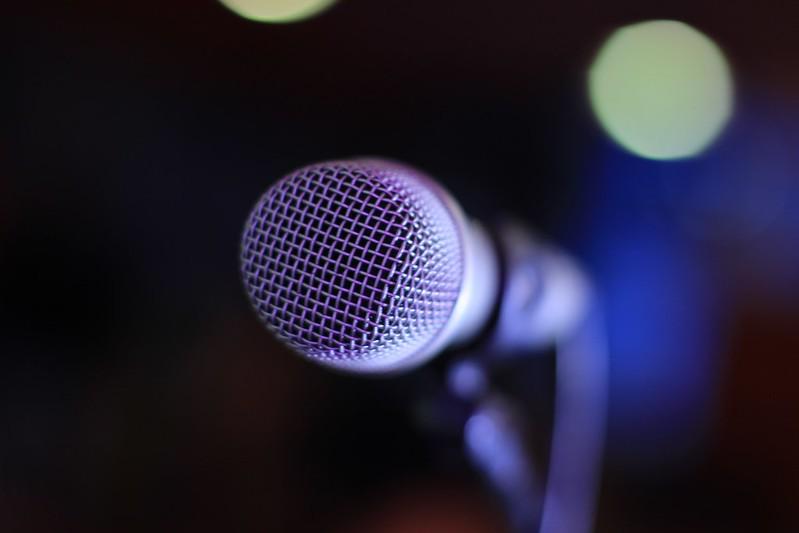 A close-up shot of a microphone.
