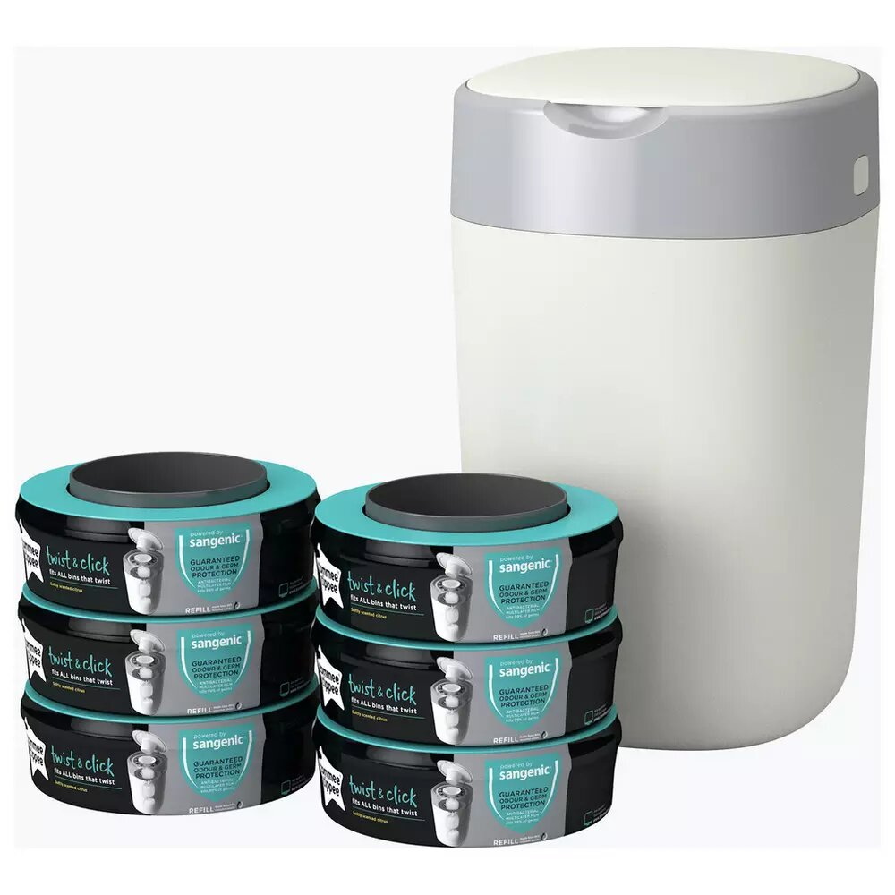 Tommee Tippee Twist & Click Nappy Bin And 6 Cassettes.