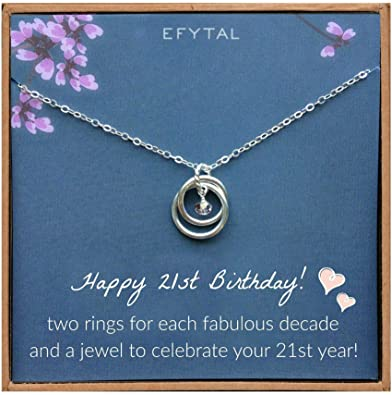 EFYTAL 21st Birthday Sterling Silver Necklace.
