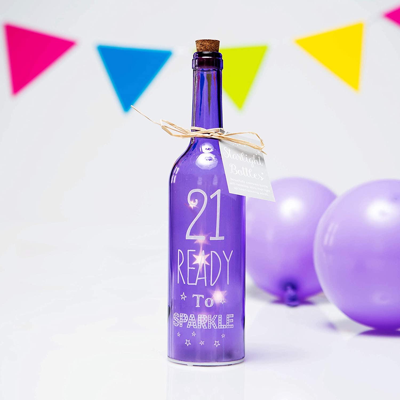 Boxer Gifts Light-Up LED '21' Glass Starlight Bottle.