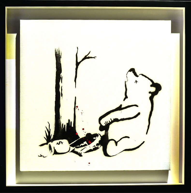 Pooh Bear sitting by a tree in a Banksy piece of art.