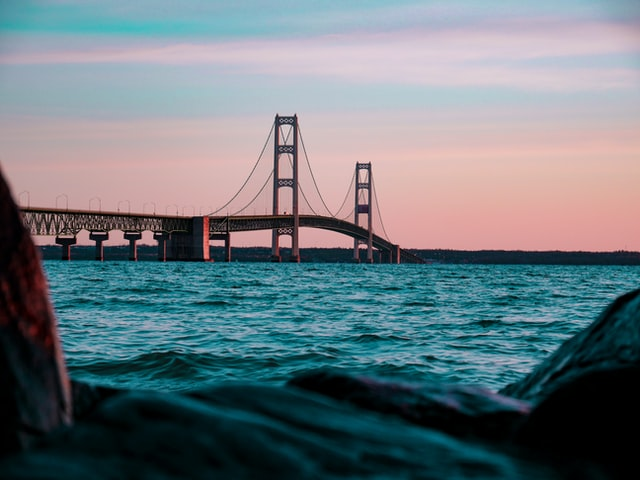 The Mackinac Bridge is one of the longest suspension bridges in the world.