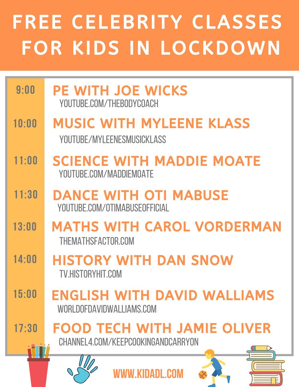Free celebrity classes for kids in lockdown.