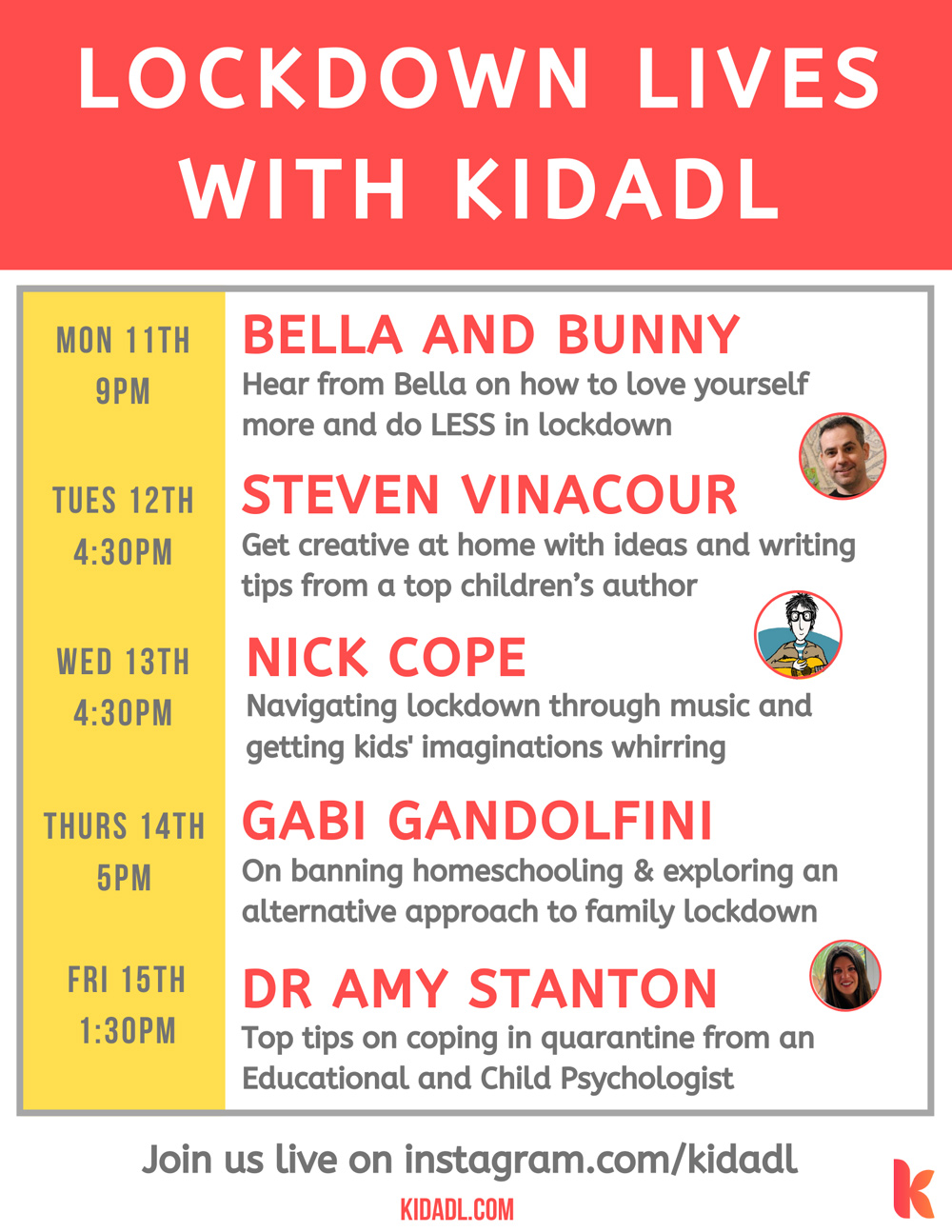 Alleviate the 7-week itch with Kidadl's series of lockdown live streams.