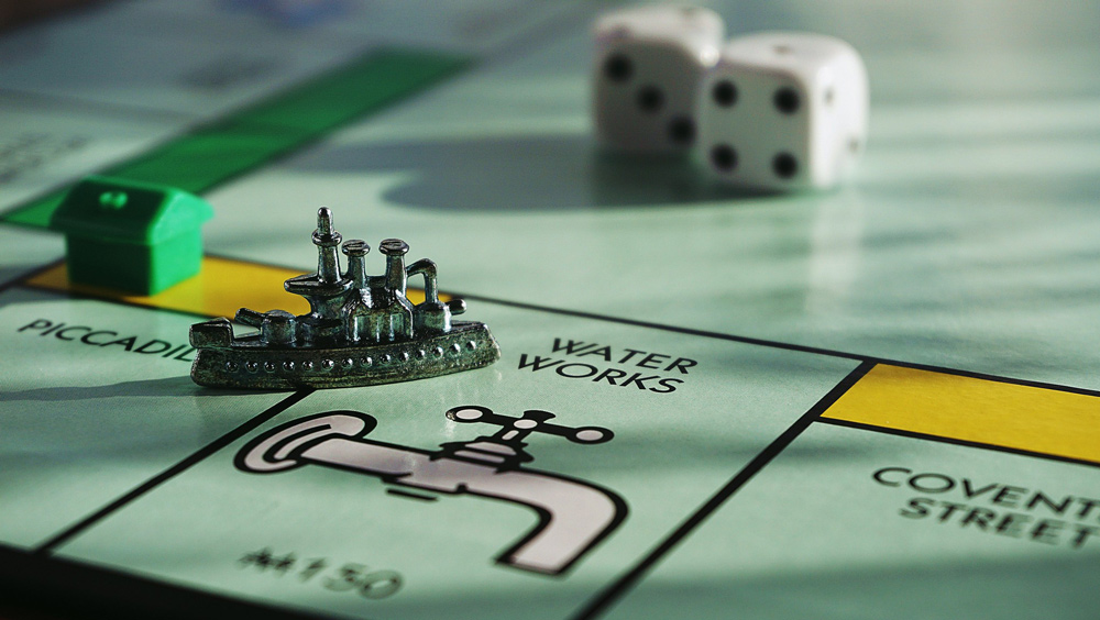Close-up shot of Monopoly board.