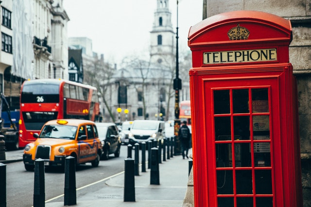 London is famous for its red phone boxes and black cabs.