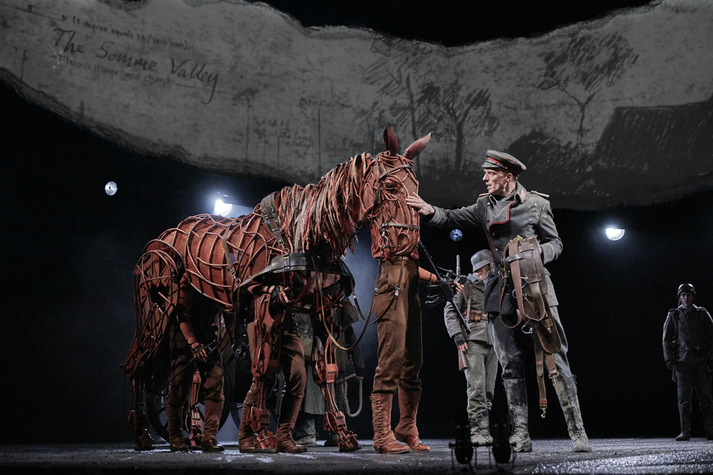 War Horse on stage, the beautiful puppet horse Joey can be seen.
