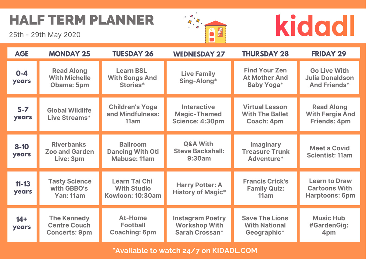 Half term planner.