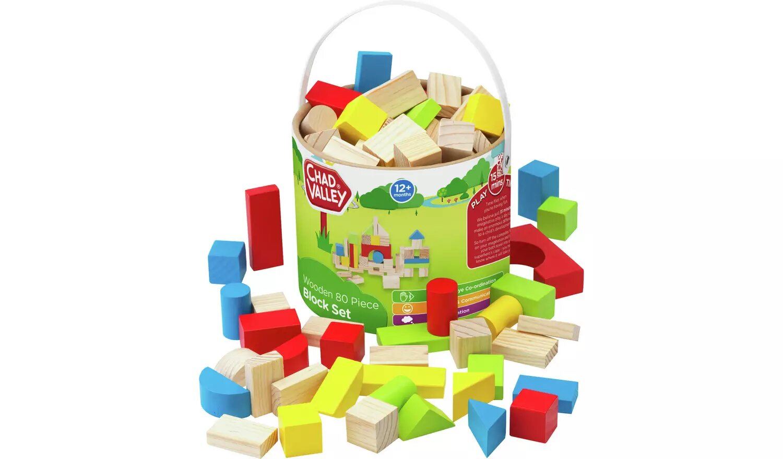 Chad Valley PlaySmart Wooden Block Set.
