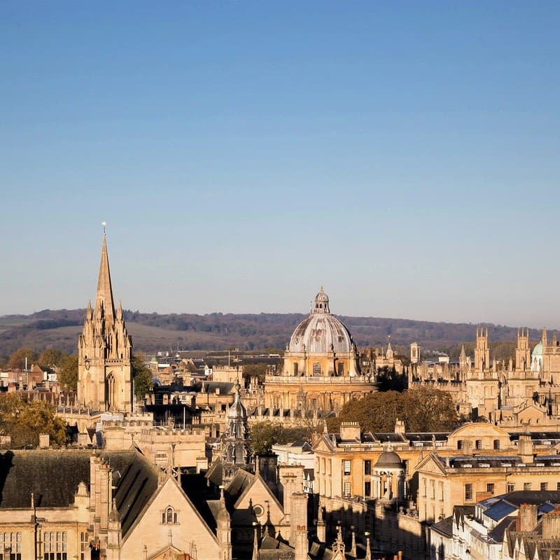 Oxford city rooftops and spires.