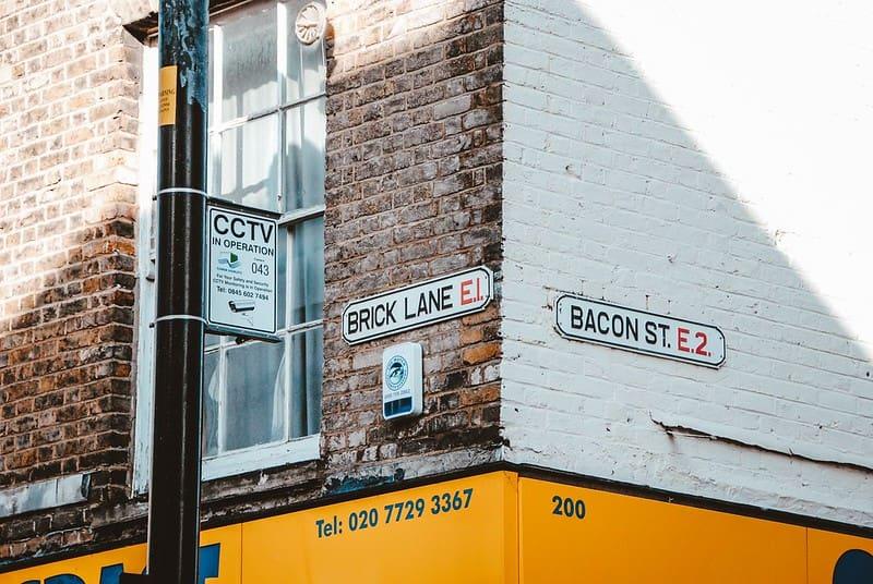 The Brick Lane street name signpost.