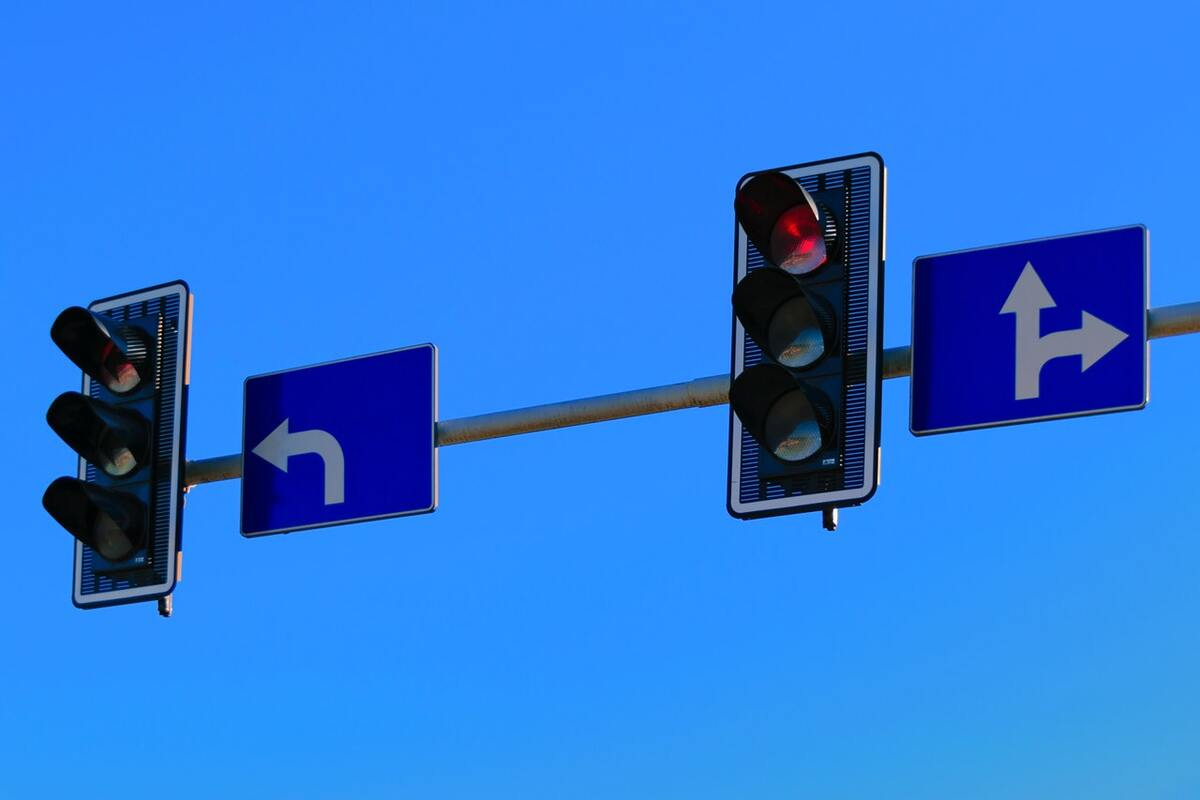 Traffic lights use LEDs to direct vehicles.