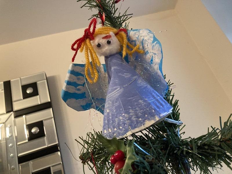 A homemade Christmas angel decoration.