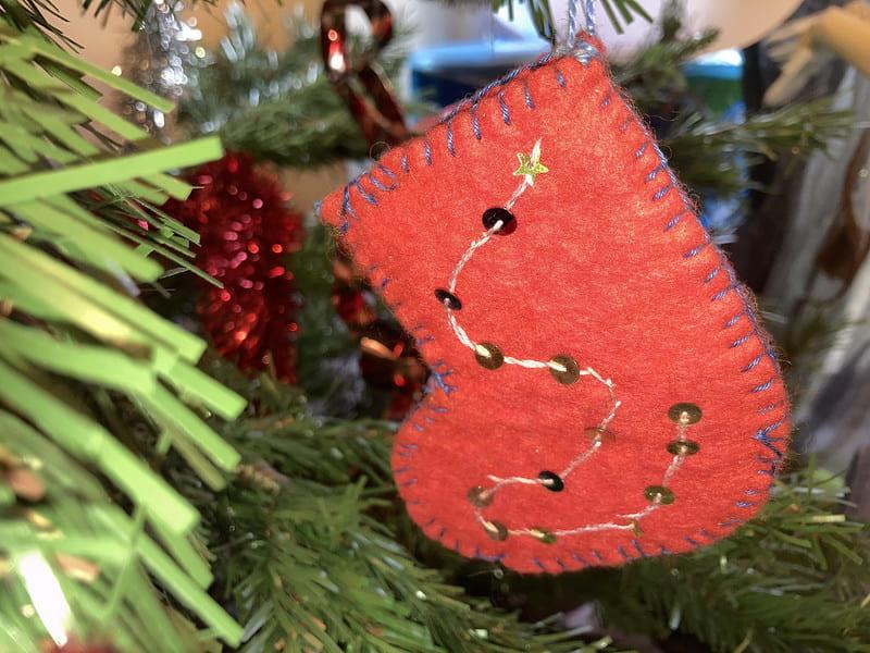 A homemade Christmas stocking decoration.