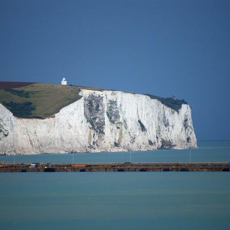 The White Cliffs of Dover in the distance.