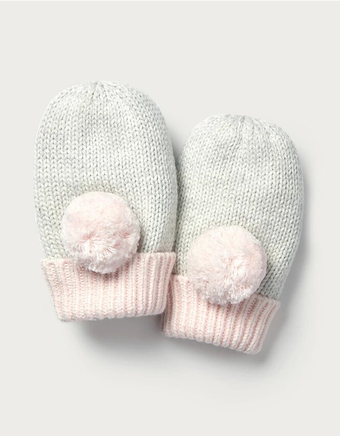 Knitted Pom-Pom Baby Mittens - The White Company.