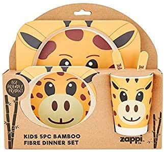 Zappi Co. Bamboo Fibre Eco-Friendly Kids' Dinner Set, Giraffe.