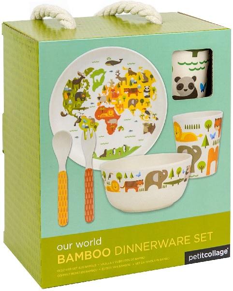Petit Collage Bamboo Dinnerware Set, World.