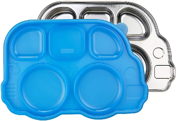 Din Din Smart Stainless Bus Divided Platter with Sectional Lid.