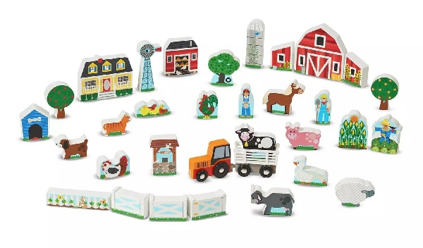 Melissa and Doug Wooden Farm and Tractor Playset.