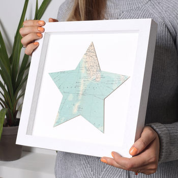 Personalised Map Location Star Print.
