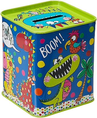 Rachel Ellen Money Box, Blue Dinosaurs.