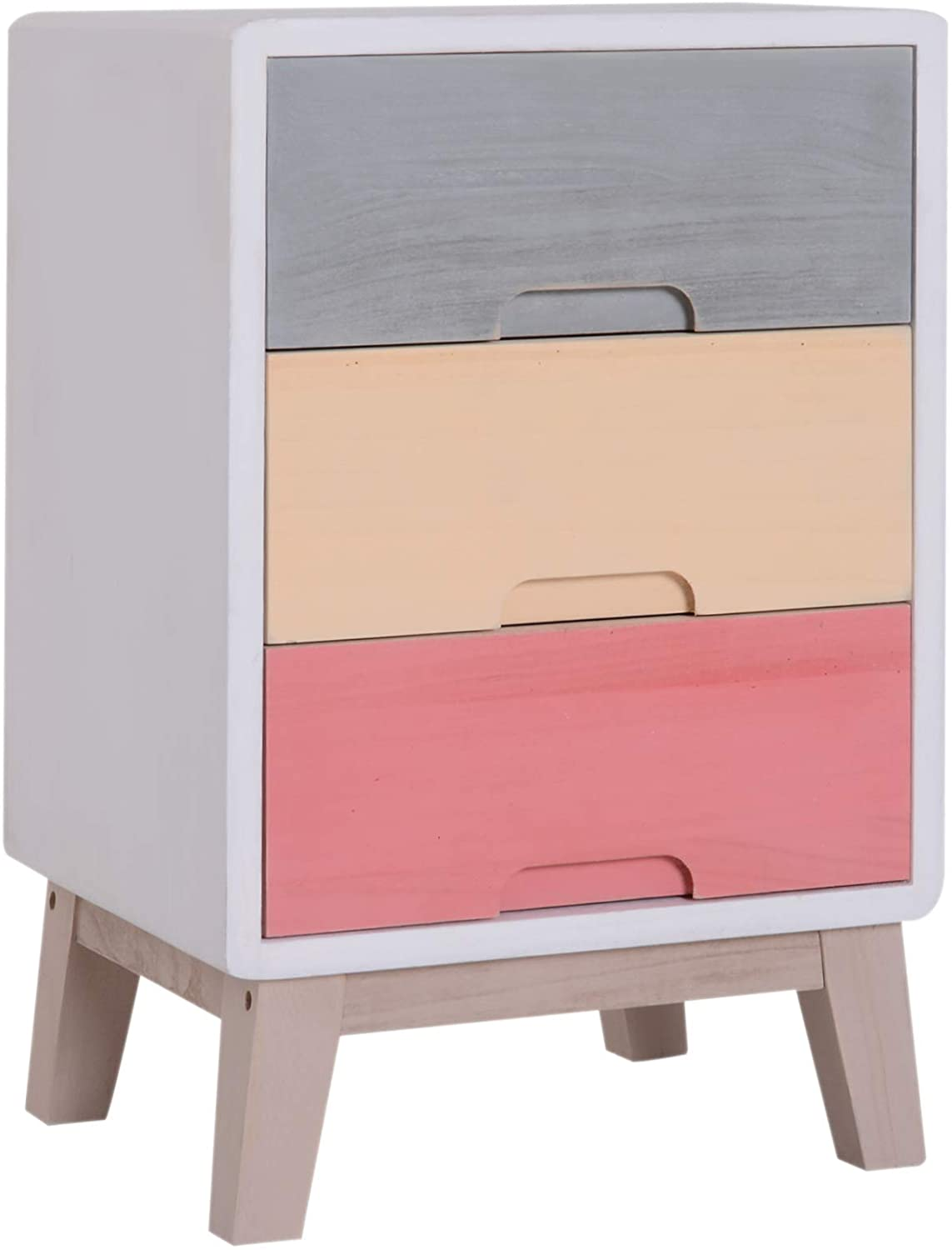HOMCOM Wooden Three Drawer Bedside Table.