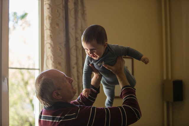 Share a few Grandfather jokes and get your old man to laugh a little and have fun too.