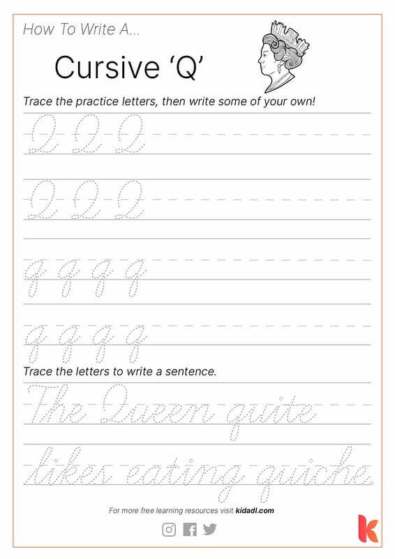 Cursive Q Worksheet.