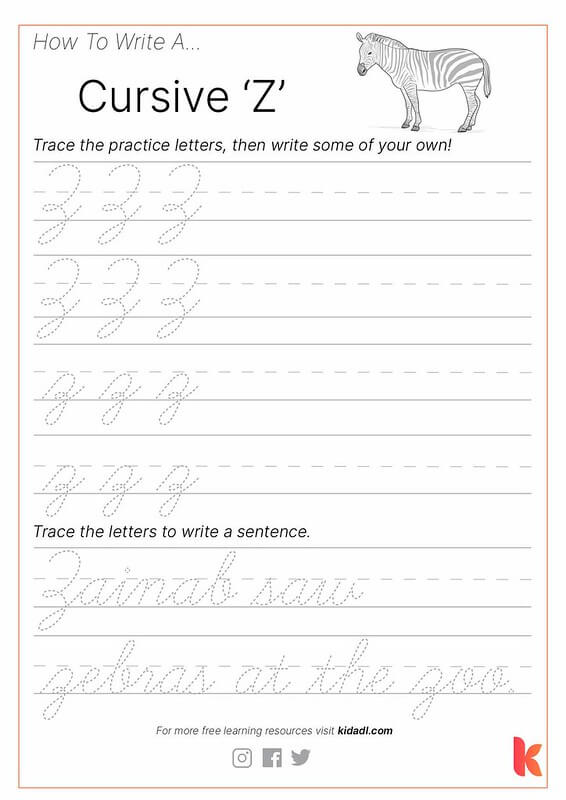 Cursive 'Z' Worksheet By Kidadl