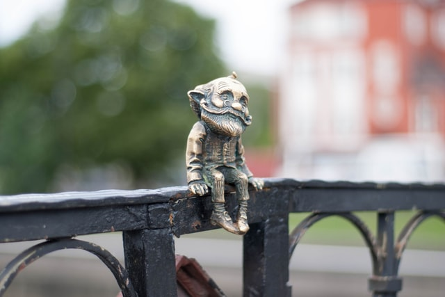 Gnomes are often used as decorating items in the garden.