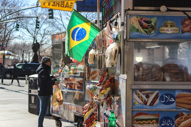 A hot dog stand can be found in every corner of the world.