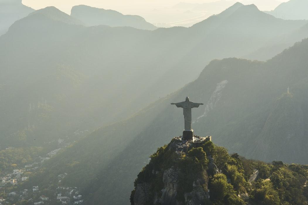 Aerial view of Christ the Redeemer at Rio de Janeiro.