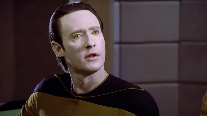 Although he looks, sounds and acts human, Star Trek's leading robot is artificial.