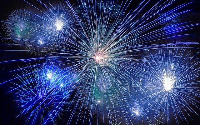 Fireworks on New Year's Eve are a common way that people celebrate.